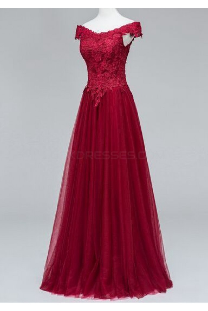 Lace Tulle Off-the-Shoulder Long Prom Formal Evening Party Dresses 3021229