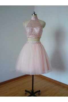 Beaded Two Pieces Short Pink Prom Evening Homecoming Cocktail Dresses 3020123