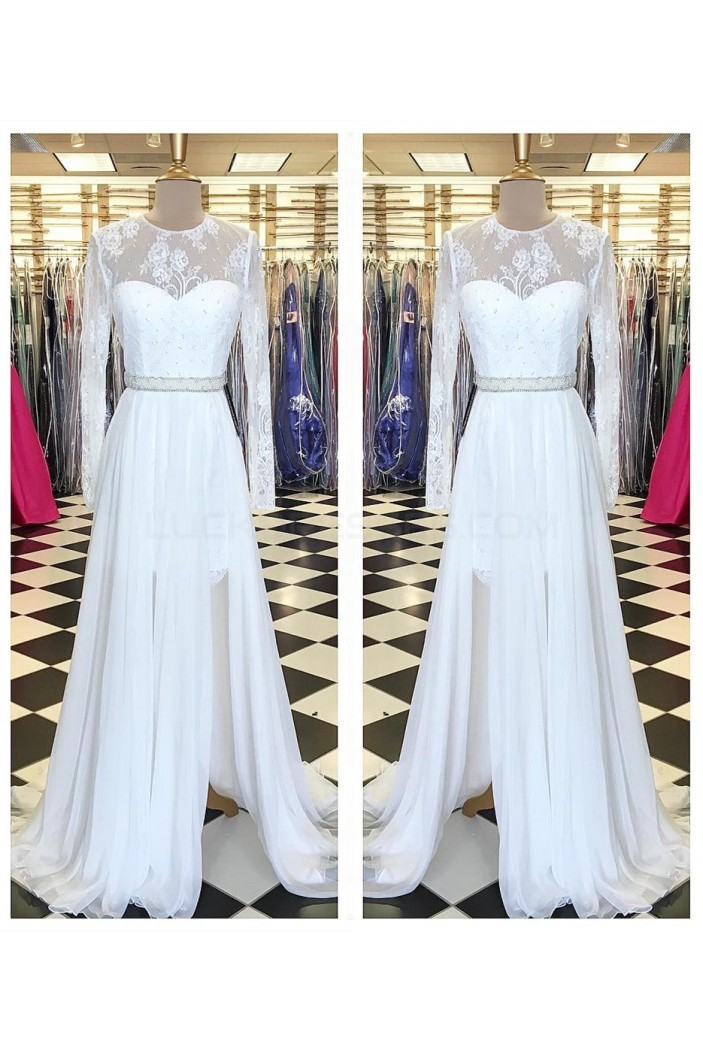 Long White Beaded Lace Chiffon Prom Formal Evening Party Dresses 3021230