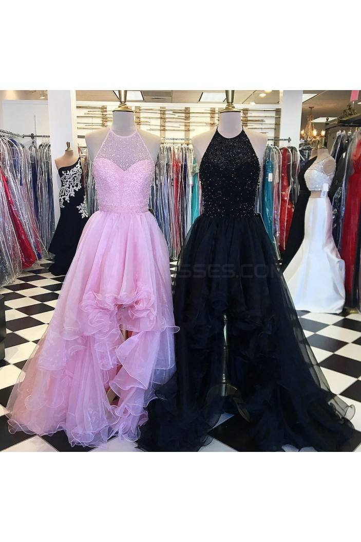 Beaded High Low Halter Prom Homecoming Cocktail Graduation Dresses 3021231