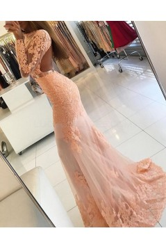 Mermaid Long Sleeves Lace Prom Formal Evening Party Dresses 3021232