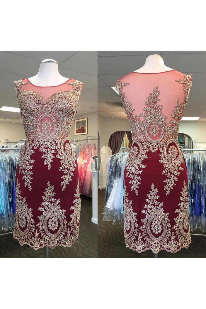 Short Gold Lace Appliques Prom Homecoming Cocktail Graduation Dresses 3021236