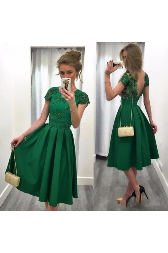 Tea Length Green Prom Homecoming Cocktail Graduation Dresses 3021237