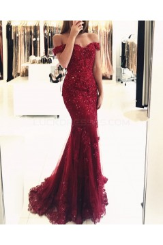 Mermaid Off-the-Shoulder Beaded Lace Appliques Long Prom Formal Evening Party Dresses 3021243