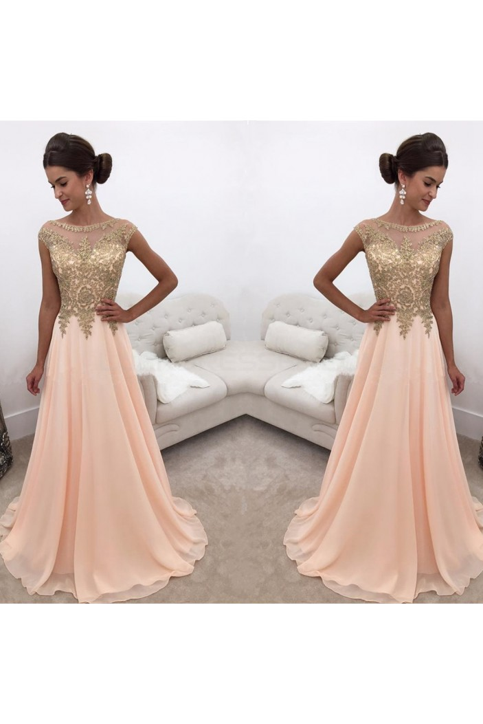 A-Line Gold Lace Appliques Chiffon Prom Formal Evening Party Dresses 3021244