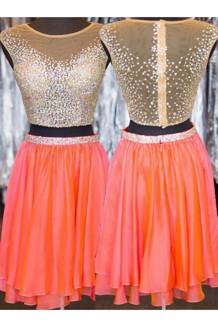 Beaded Sequins Two Pieces Short See Through Prom Evening Homecoming Cocktail Dresses 3020125