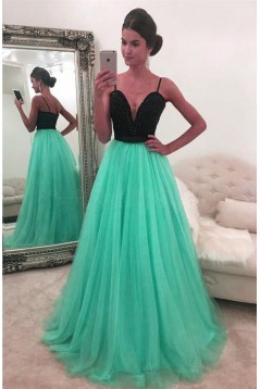 Beaded Spaghetti Straps Long Prom Formal Evening Party Dresses 3021252