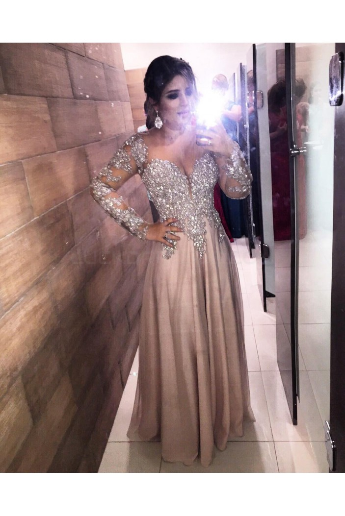 Long Sleeves Lace Prom Formal Evening Party Dresses 3021253