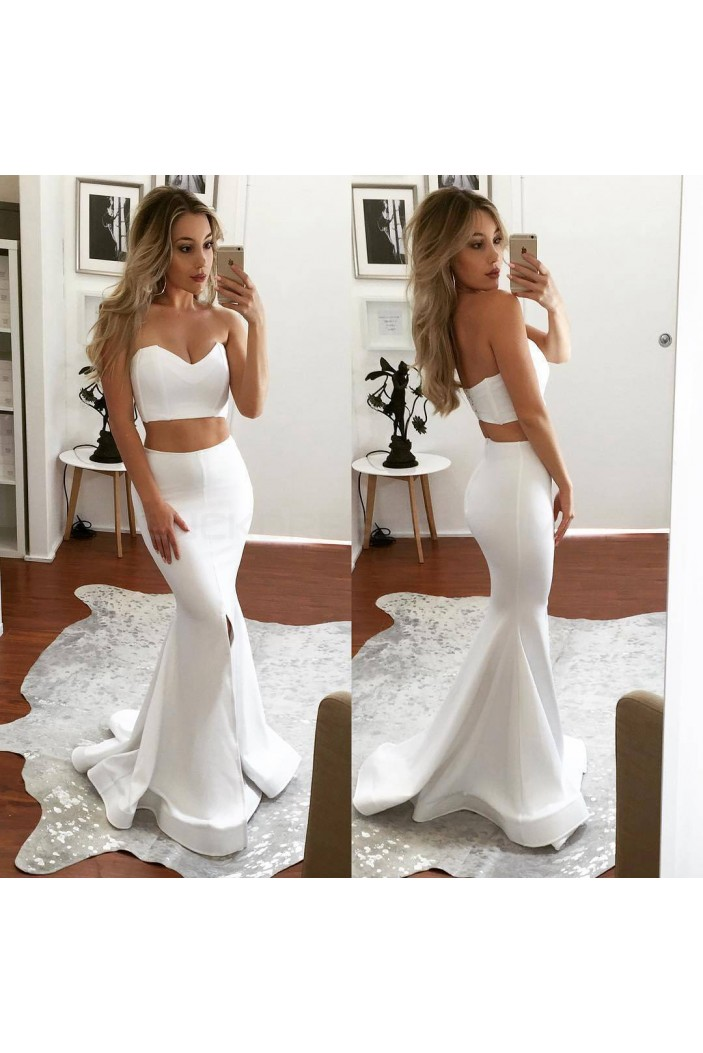 Two Pieces Mermaid White Prom Formal Evening Party Dresses 3021254