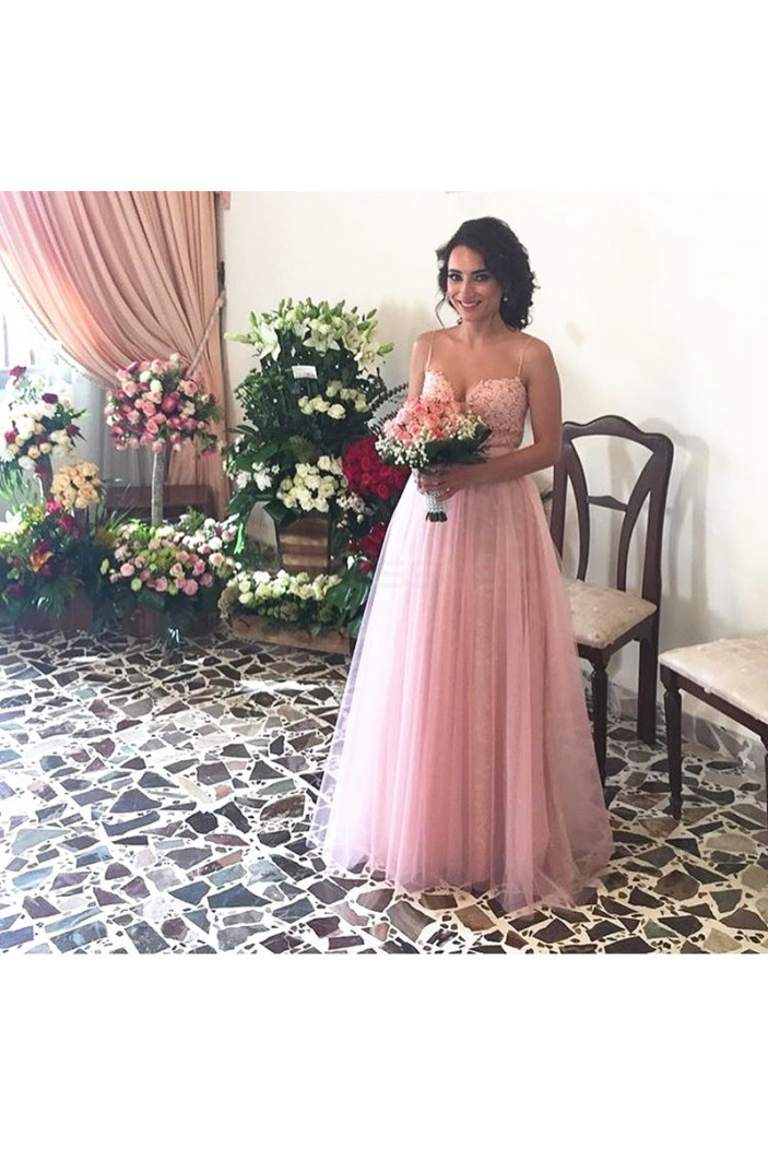 Long Pink Lace Tulle Spaghetti Straps Prom Formal Evening Party Dresses 3021255