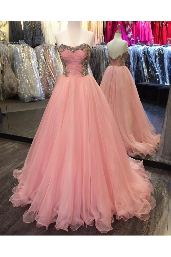 Beaded Long Pink Tulle Ball Gown Prom Formal Evening Party Dresses 3021260
