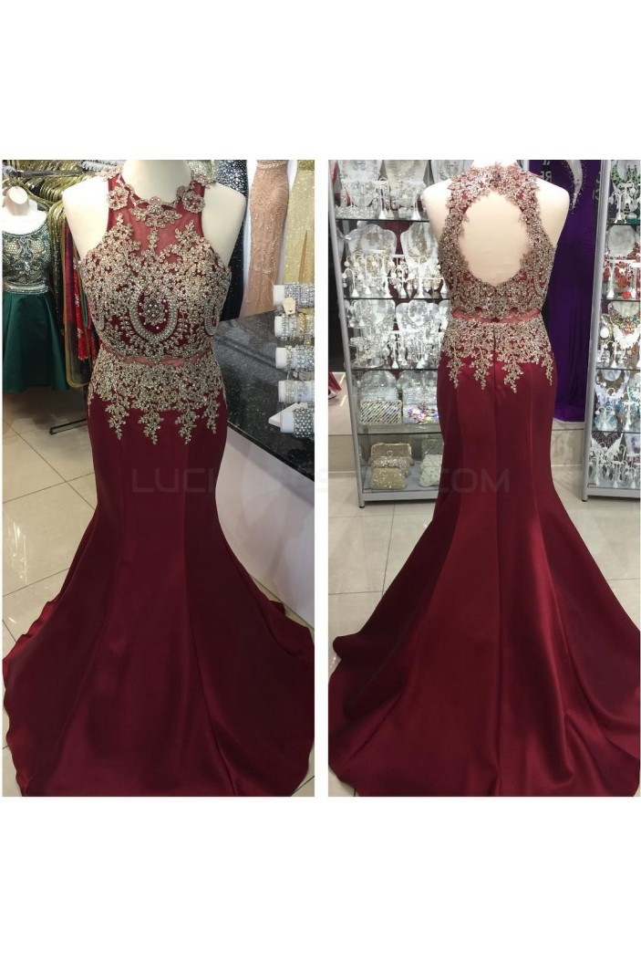 Mermaid Lace Appliques Keyhole Back Long Prom Formal Evening Party Dresses 3021262