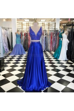 Beaded Two Pieces Prom Formal Evening Party Dresses 3021263