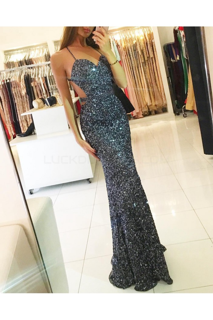 Sequins Spaghetti Straps Mermaid Long Prom Formal Evening Party Dresses 3021264