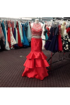 Mermaid Two Pieces Beaded Long Prom Formal Evening Party Dresses 3021265