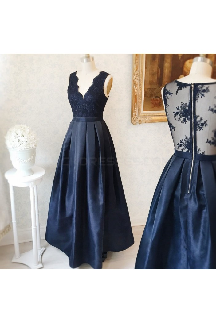 Long Blue V-Neck Lace Prom Formal Evening Party Dresses 3021266