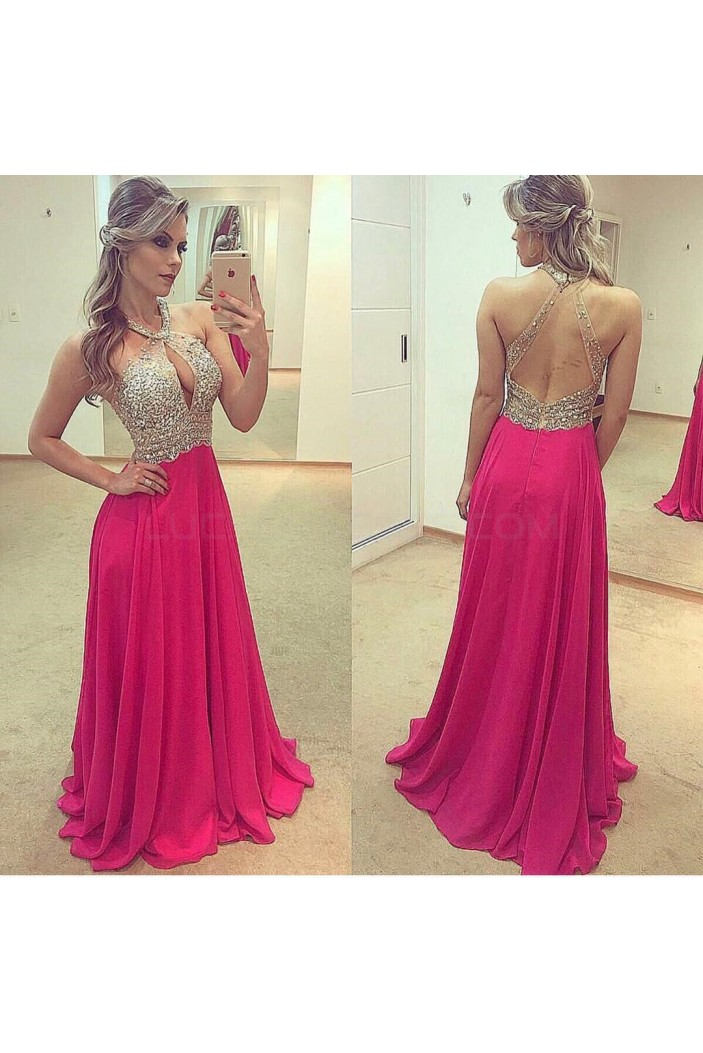 Sexy Beaded Chiffon Prom Formal Evening Party Dresses 3021269