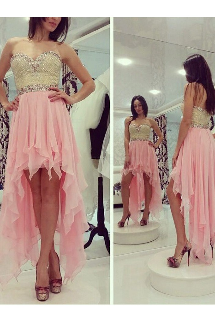 High Low Sweetheart Beaded Short Pink Chiffon Prom Evening Homecoming Cocktail Dresses 3020127