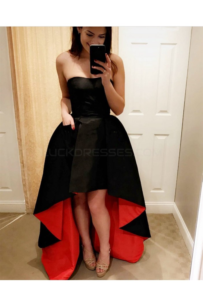 High Low Strapless Black Red Prom Homecoming Cocktail Graduation Dresses 3021273