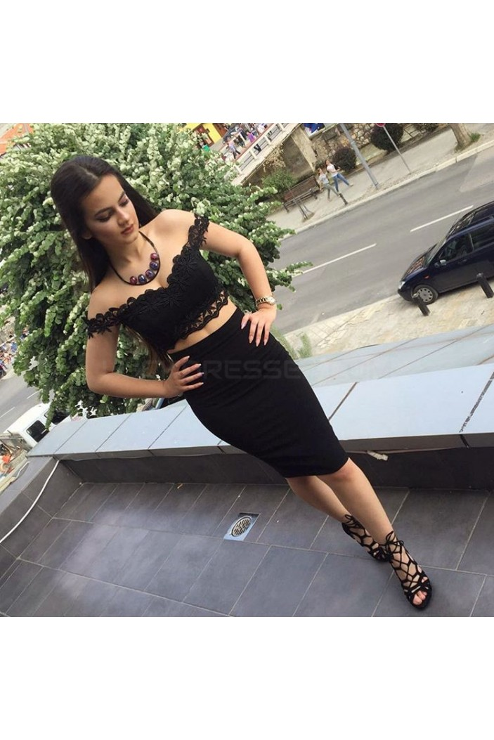 Short Black Two Pieces Lace Prom Formal Evening Party Dresses 3021277