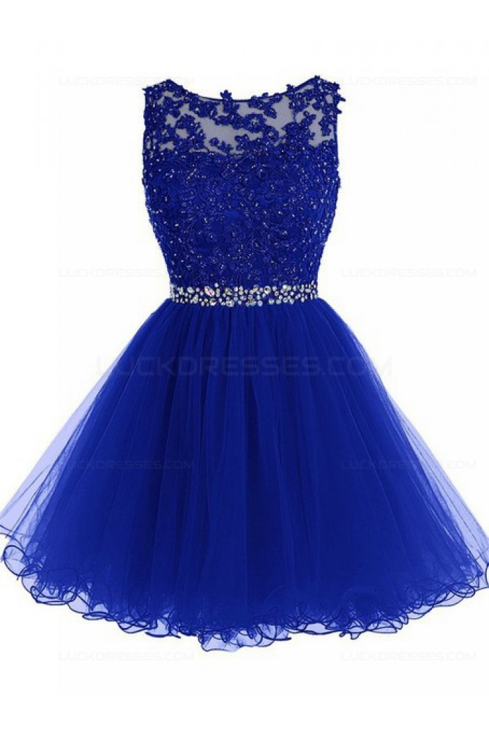 Beaded Short Royal Blue Lace Appliques Tulle Prom Evening Homecoming Cocktail Dresses 3020128