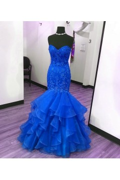 Mermaid Long Blue Lace Appliques Prom Formal Evening Party Dresses 3021284