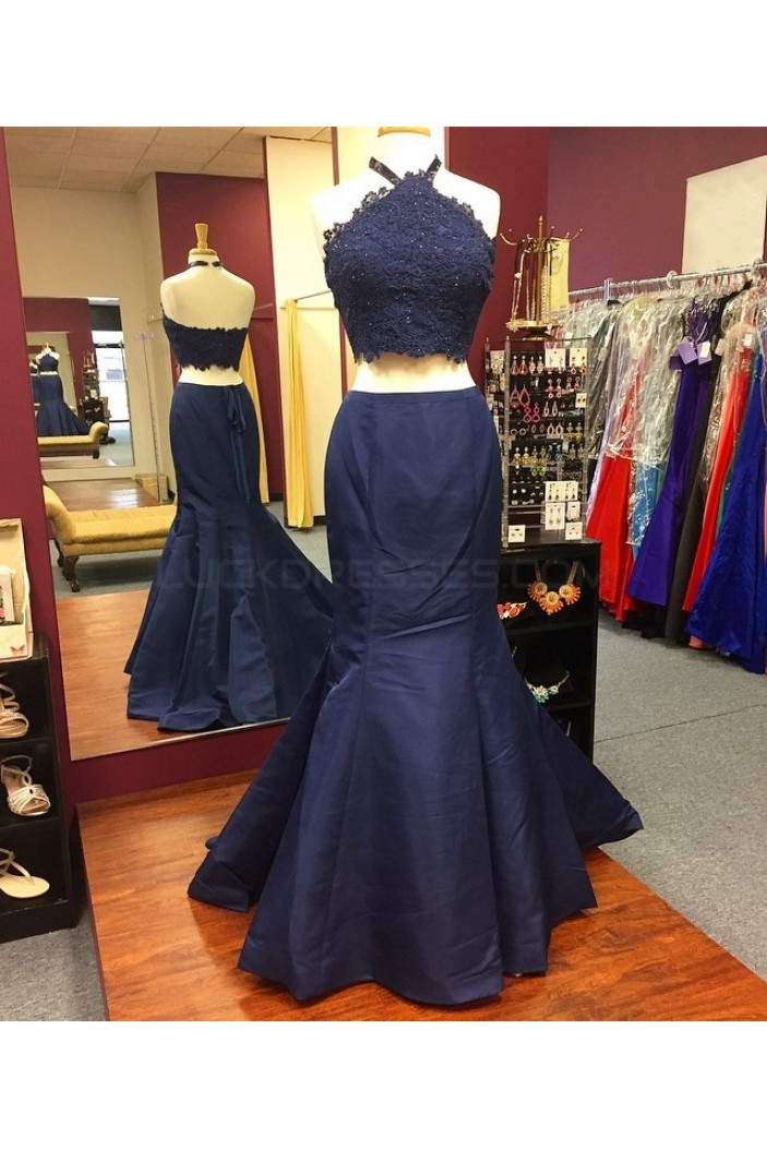 Mermaid Two Pieces Lace Navy Blue Prom Formal Evening Party Dresses 3021286