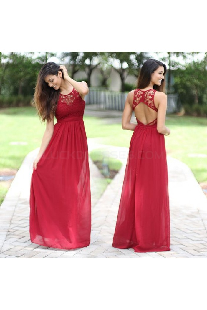 Long Red Lace Chiffon Prom Formal Evening Party Dresses 3021288