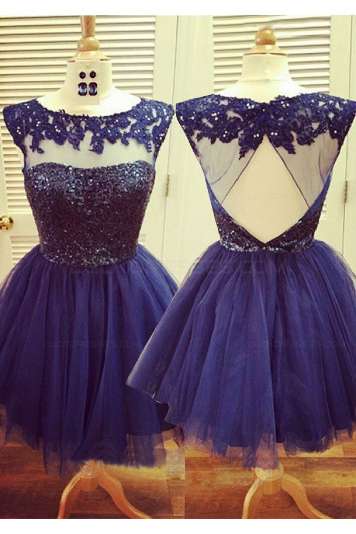 Beaded Short Purple Lace Appliques Sequins Tulle Prom Evening Homecoming Cocktail Dresses 3020129