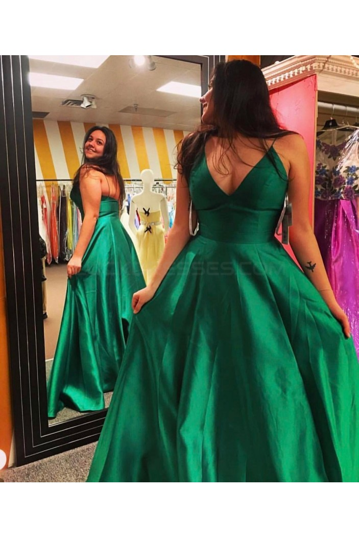 Long Green V-Neck Spaghetti Straps Prom Formal Evening Party Dresses 3021290