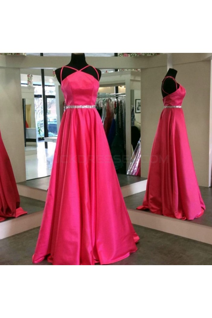 A-Line Beaded Spaghetti Straps Prom Formal Evening Party Dresses 3021292