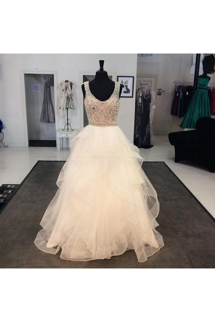 Beaded Tulle Ball Gown Prom Formal Evening Party Dresses 3021295