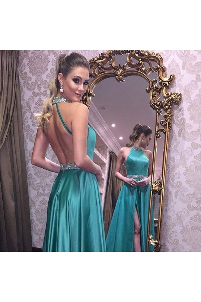 Beaded Long Prom Formal Evening Party Dresses with Slit 3021297