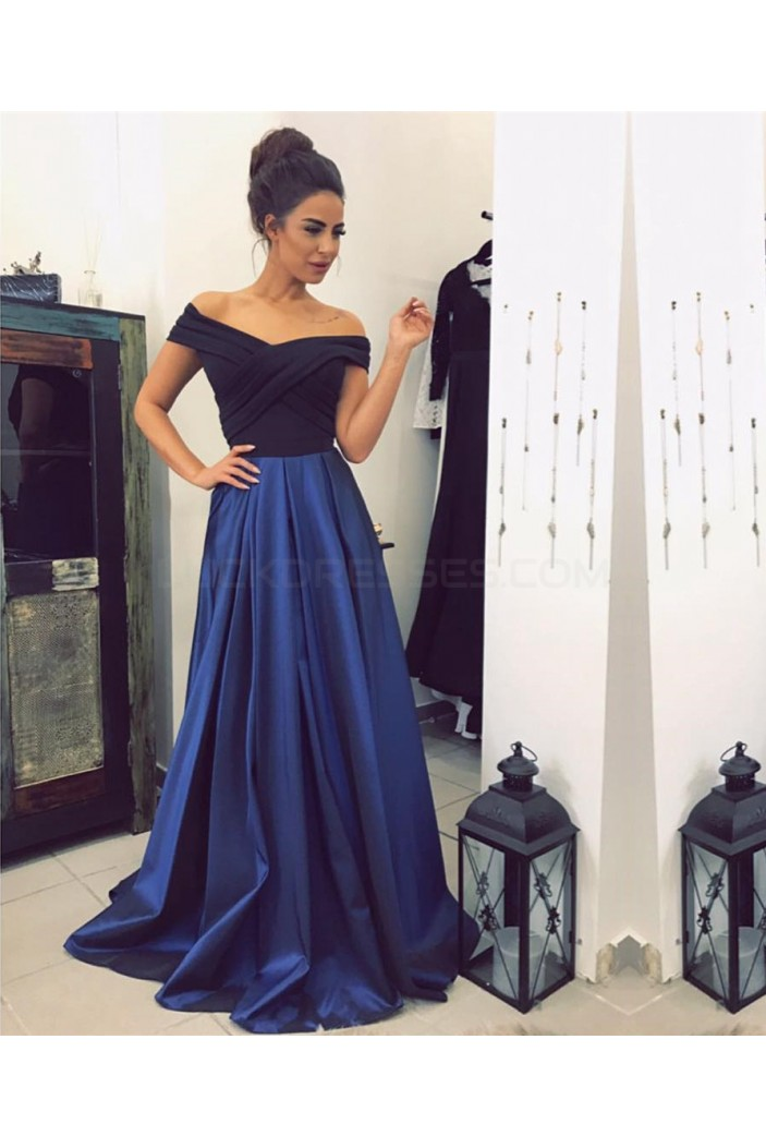 Long Blue Off-the-Shoulder Prom Formal Evening Party Dresses 3021298