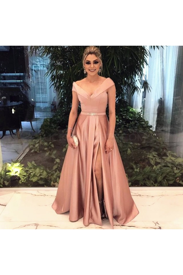 Long Beaded Off-the-Shoulder Prom Formal Evening Party Dresses 3021300