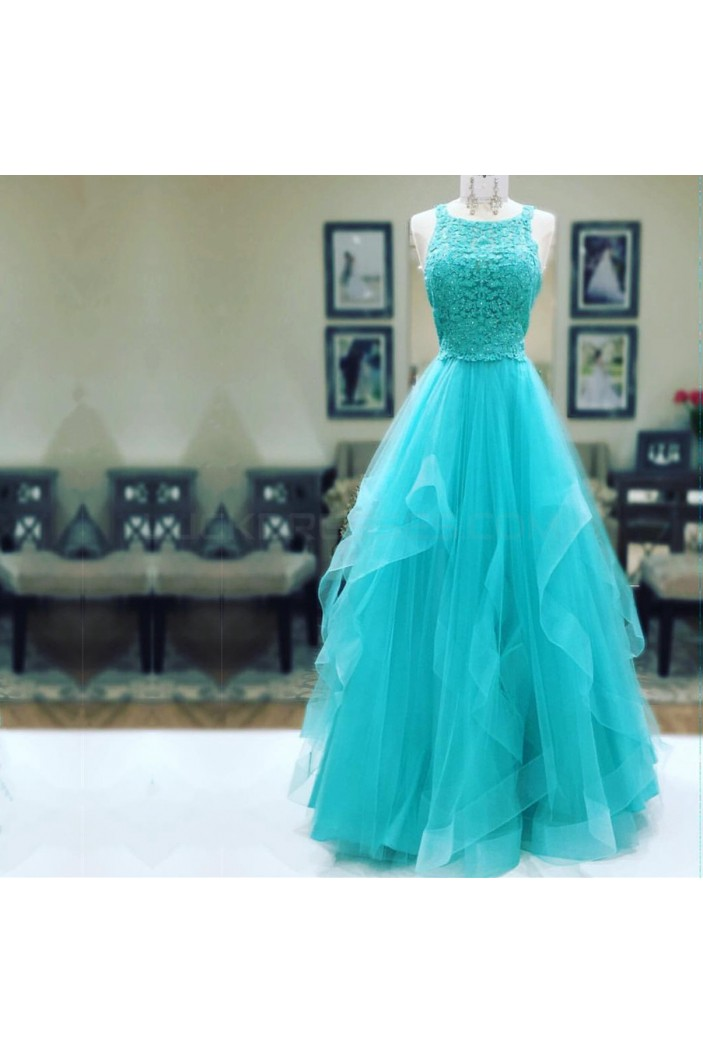 Long Lace Tulle Prom Formal Evening Party Dresses 3021302