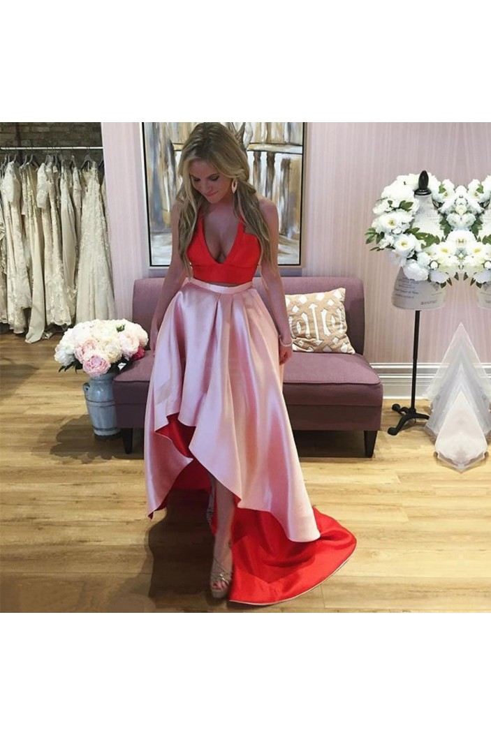 High Low Two Pieces Red Pink Prom Formal Evening Party Dresses 3021303