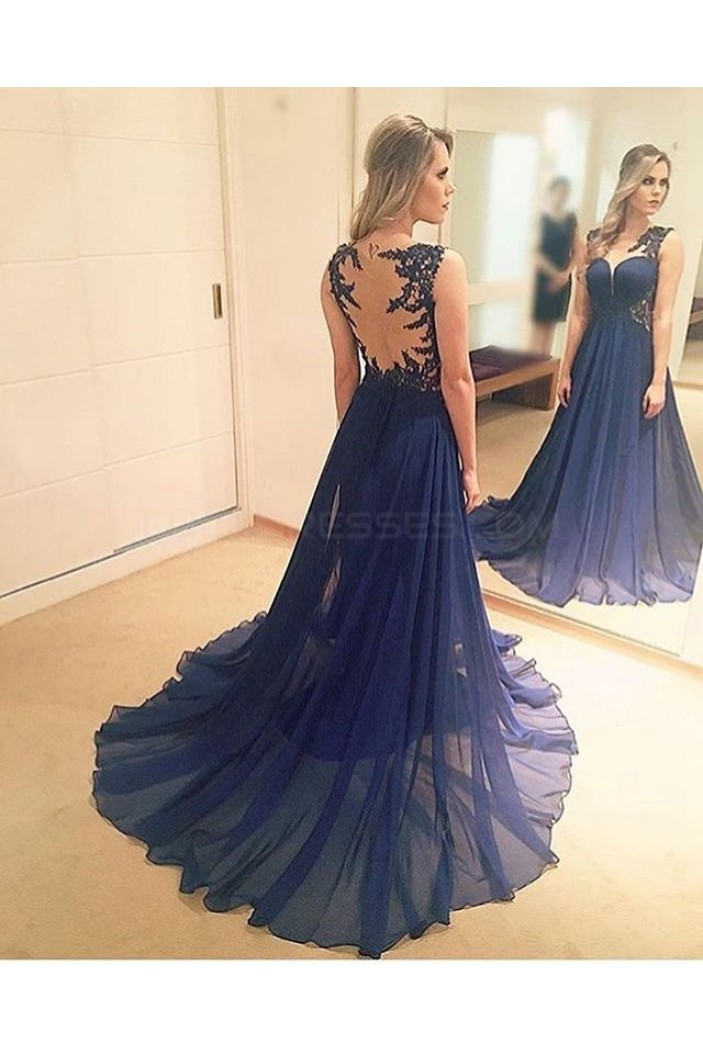 Long Blue Lace Chiffon Prom Formal Evening Party Dresses 3021305