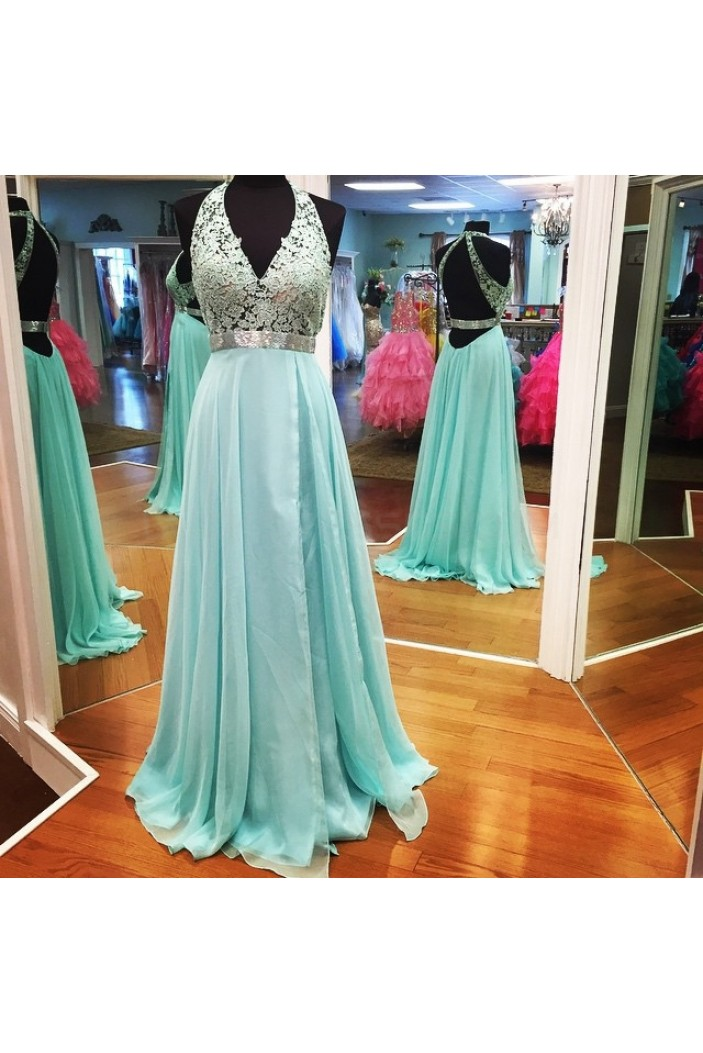 A-Line V-Neck Lace Chiffon Prom Formal Evening Party Dresses 3021306