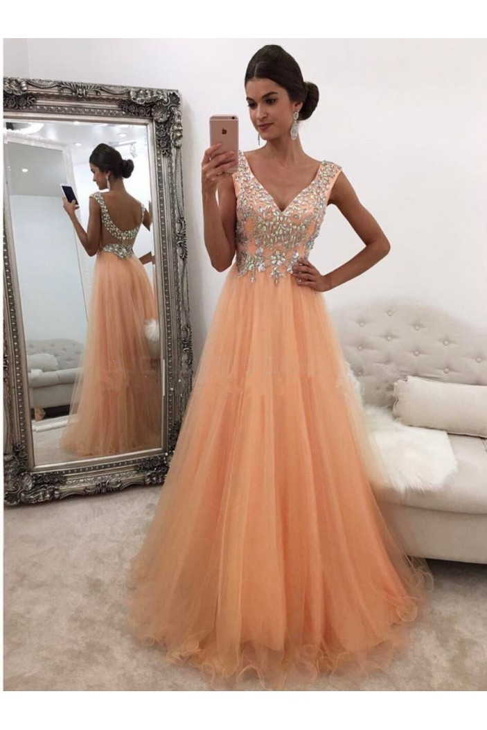 A-Line Beaded V-Neck Prom Formal Evening Party Dresses 3021307