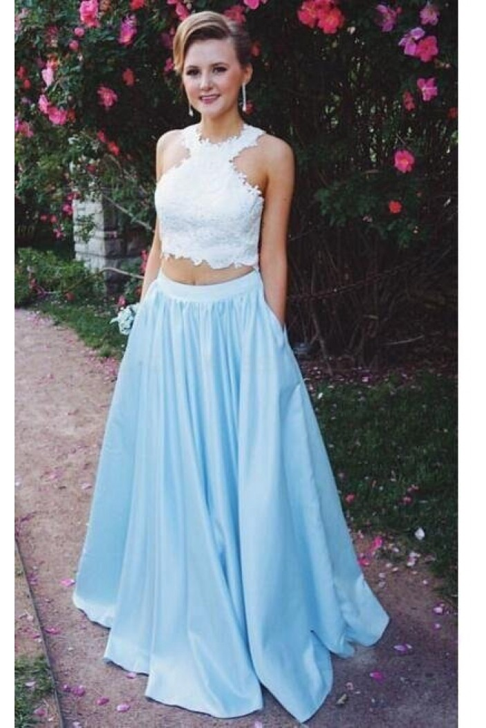A-Line Two Pieces Lace Prom Formal Evening Party Dresses 3021308