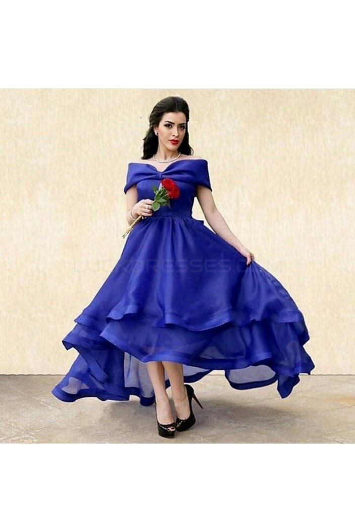 High Low Blue Off-the-Shoulder Prom Formal Evening Party Dresses 3021311