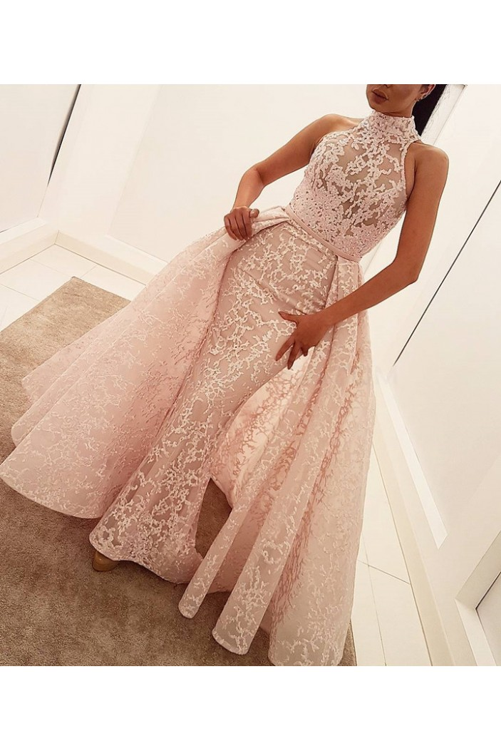 Mermaid High Neck Lace Long Prom Formal Evening Party Dresses 3021312