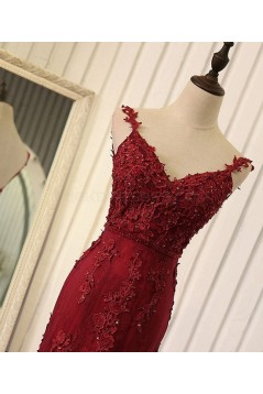 Mermaid Burgundy Lace V-Neck Long Prom Formal Evening Party Dresses 3021319