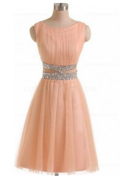 Short Pink Beaded Sleeveless Bridesmaid Prom Dresses Evening Gowns 3020132