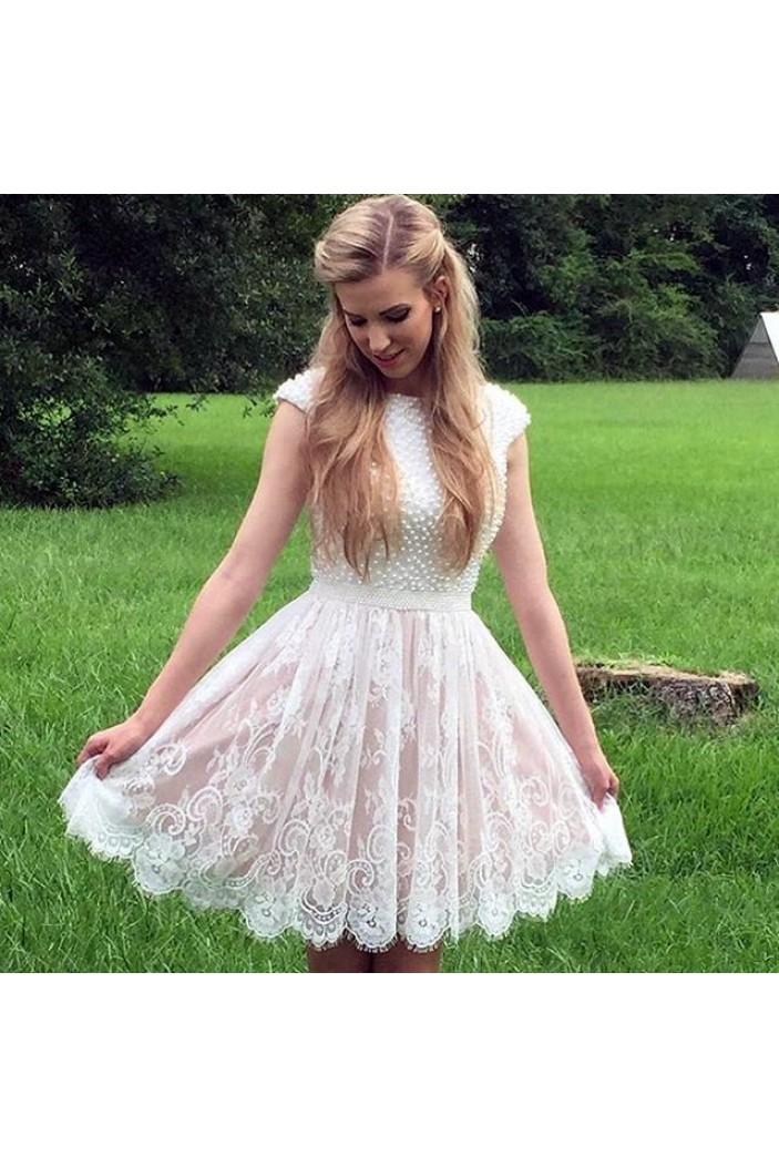Cap Sleeves Lace Short White Prom Homecoming Cocktail Graduation Dresses 3021320