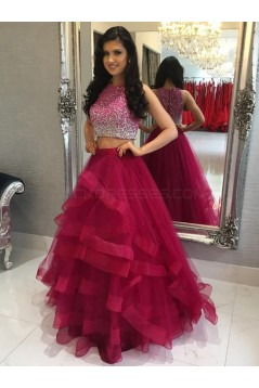 Two Pieces Beaded Tulle Ball Gown Prom Formal Evening Party Dresses 3021321