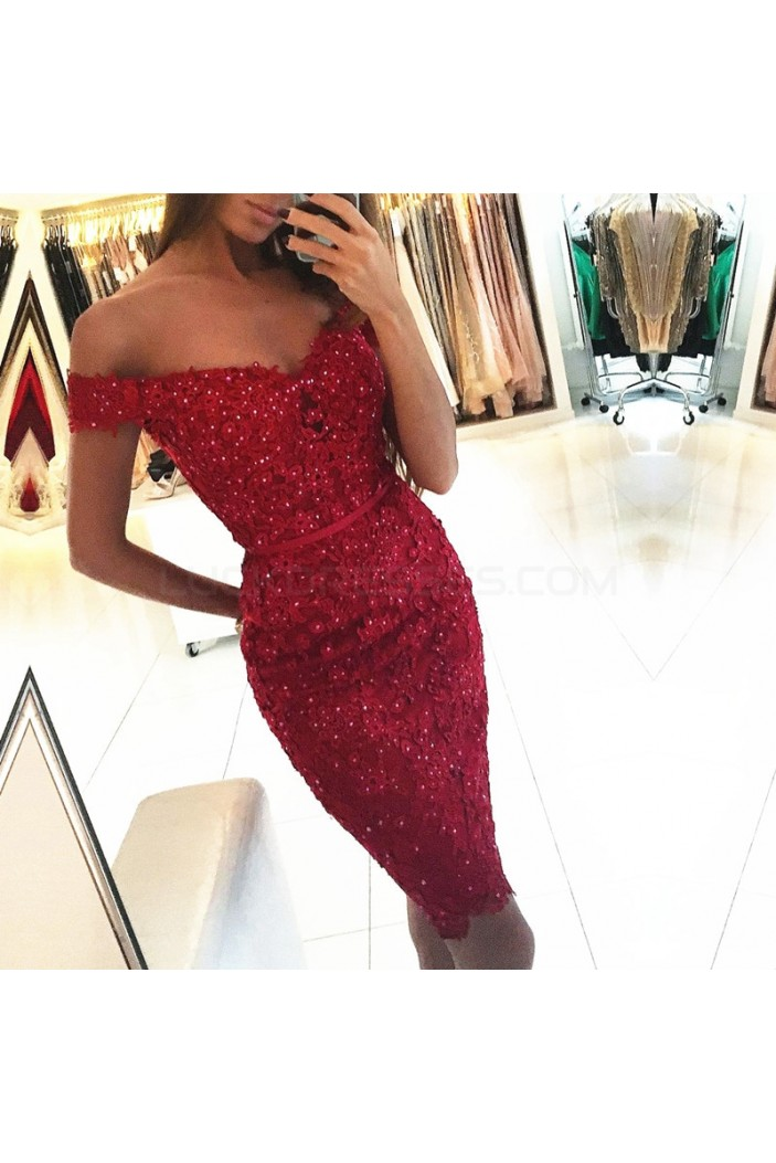 Beaded Lace Off-the-Shoulder Short Prom Formal Evening Party Dresses 3021324