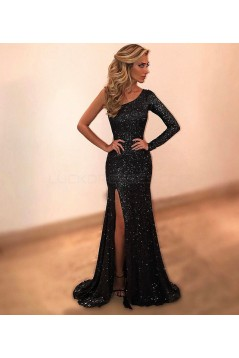 Long Black One-Sleeves Sequins Prom Formal Evening Party Dresses 3021329