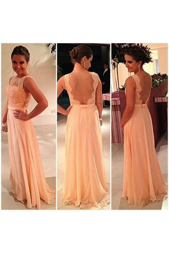 A-Line Chiffon Lace See Through Back Long Prom Evening Formal Dresses 3020133